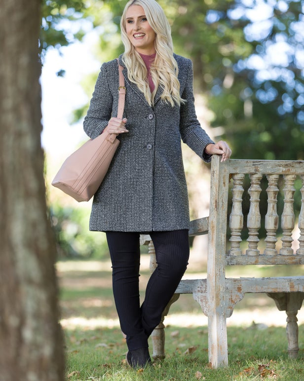 Textured Wool Blend Coat