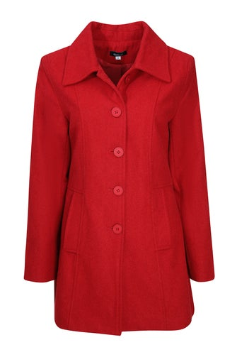 Plain Wool Blend Coat