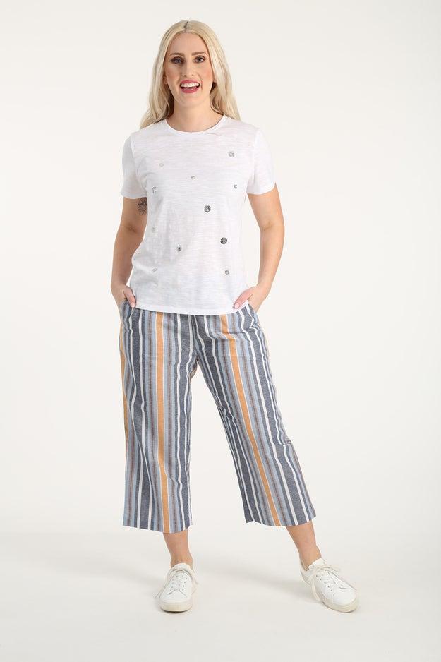 Cotton Linen Stripe Culottes