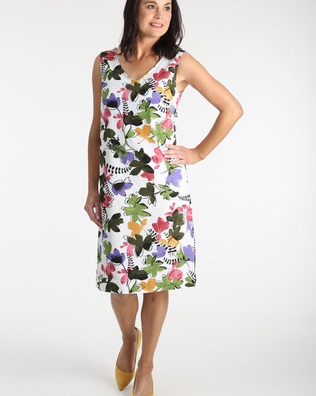 Printed Linen Rich Dress