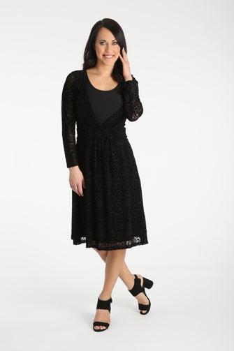 Flocked Printed Mesh Dress