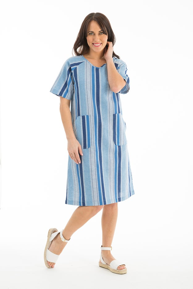 Cotton Linen Stripe Dress