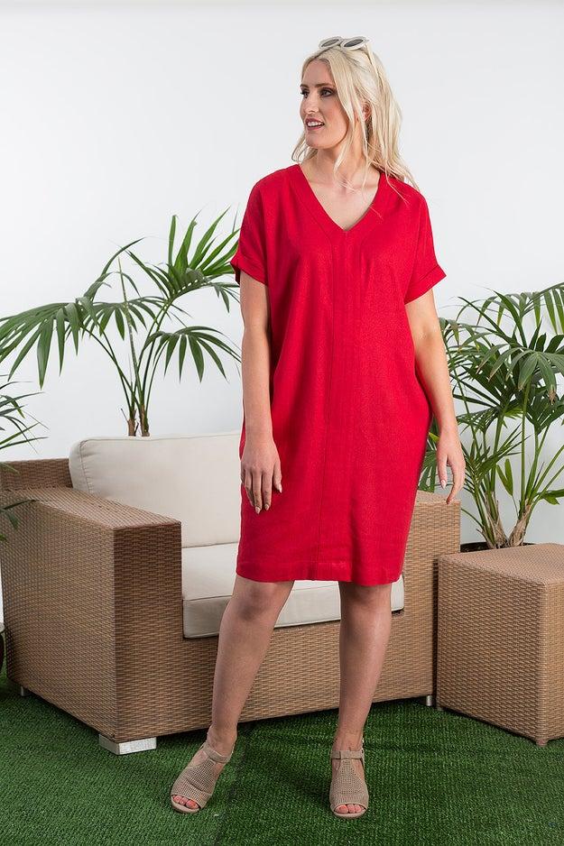 Plain Linen Rich Dress