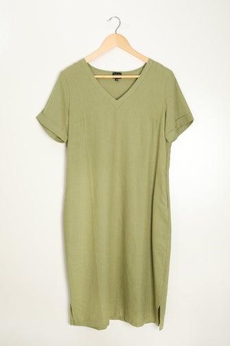 Linen Viscose Blend Dress