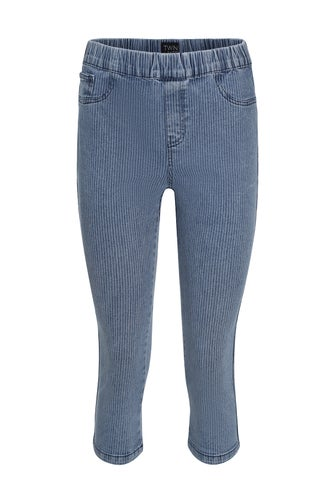 Pinstripe Denim Mid Calf Jean