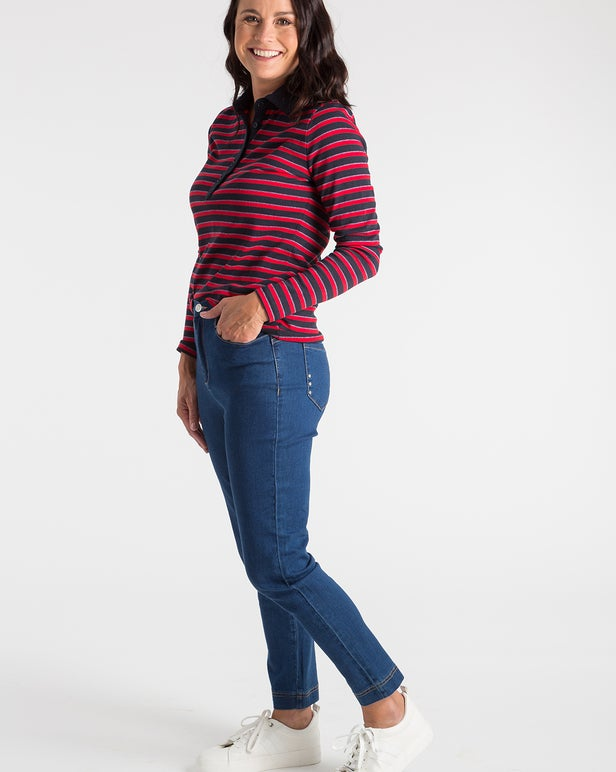 Stripe Skivvies Polo Top