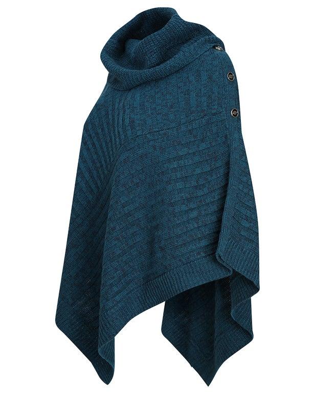Two Tone Knitwear Poncho