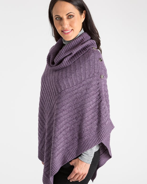 Two Tone Knitwear Poncho