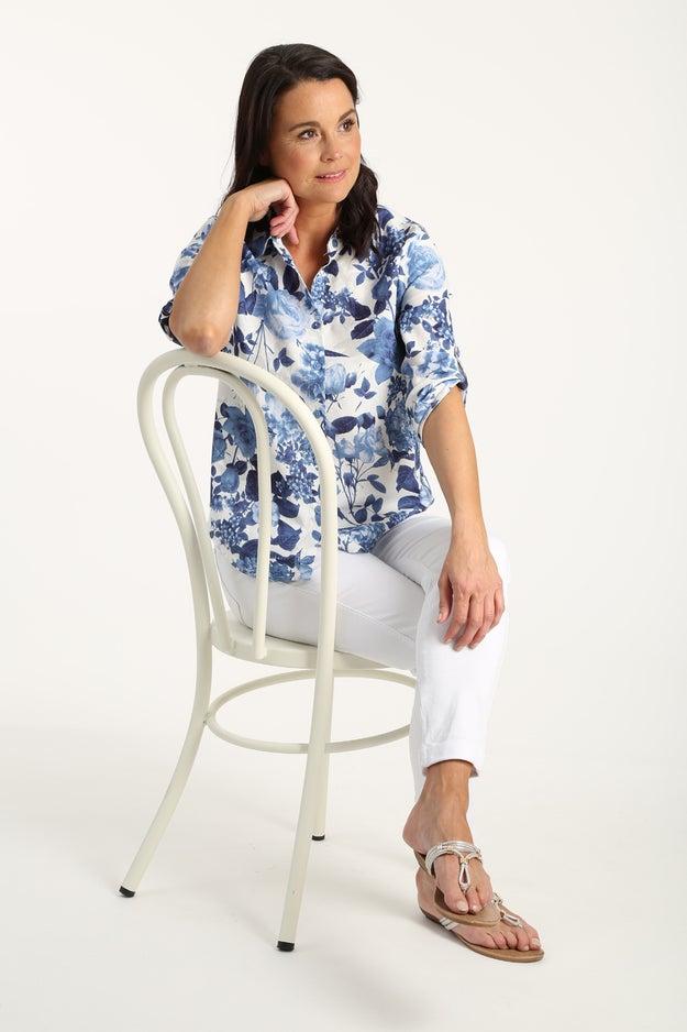 Linen Rich Printed Shirt