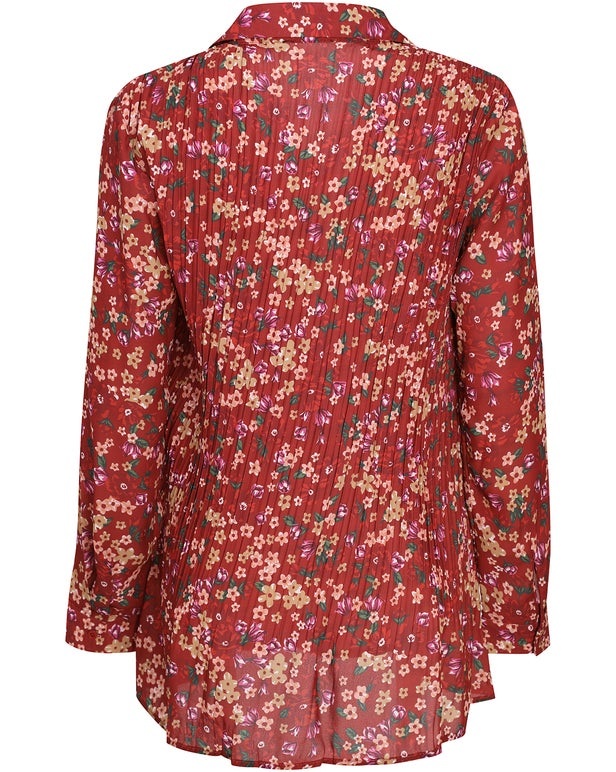 Pleated Printed Georgette Shirt