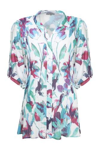 Pleated Printed Georgette Shirt