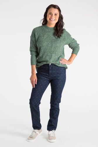 Printed Denim Short Jean