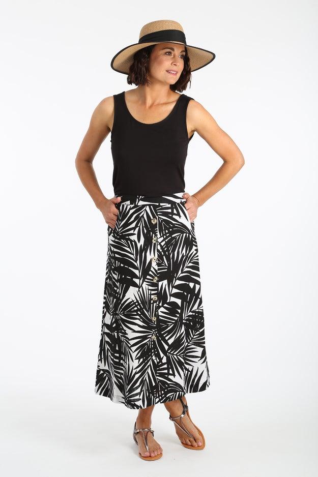 Printed Linen Rich Skirt