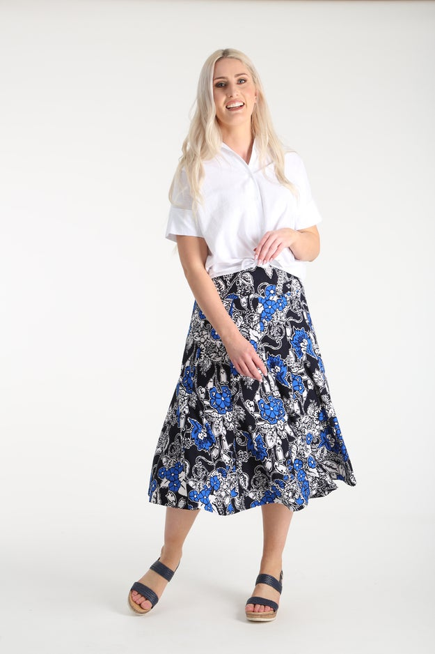 Printed Textured Knit Skirt