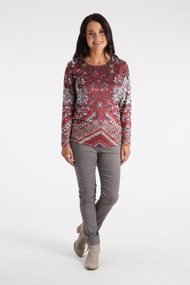 Printed Marle Knit Top