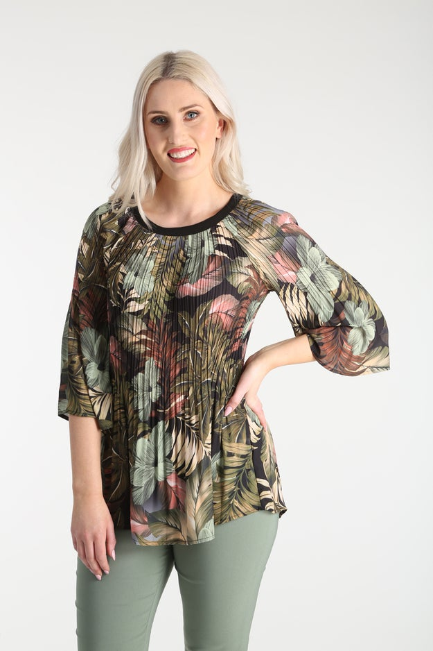 Pleated Printed Georgette Tunic